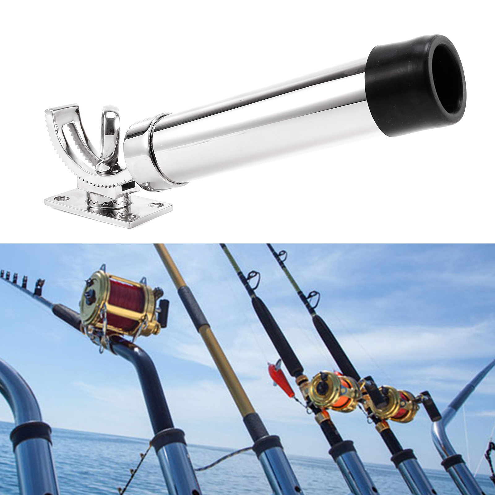 360 adjustable stainless steel fishing rod holder boat for Steel fishing rod