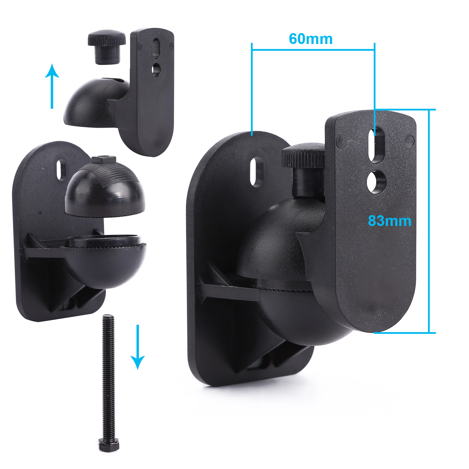 Universal 4x Surround Sound Speaker Brackets Wall Mount