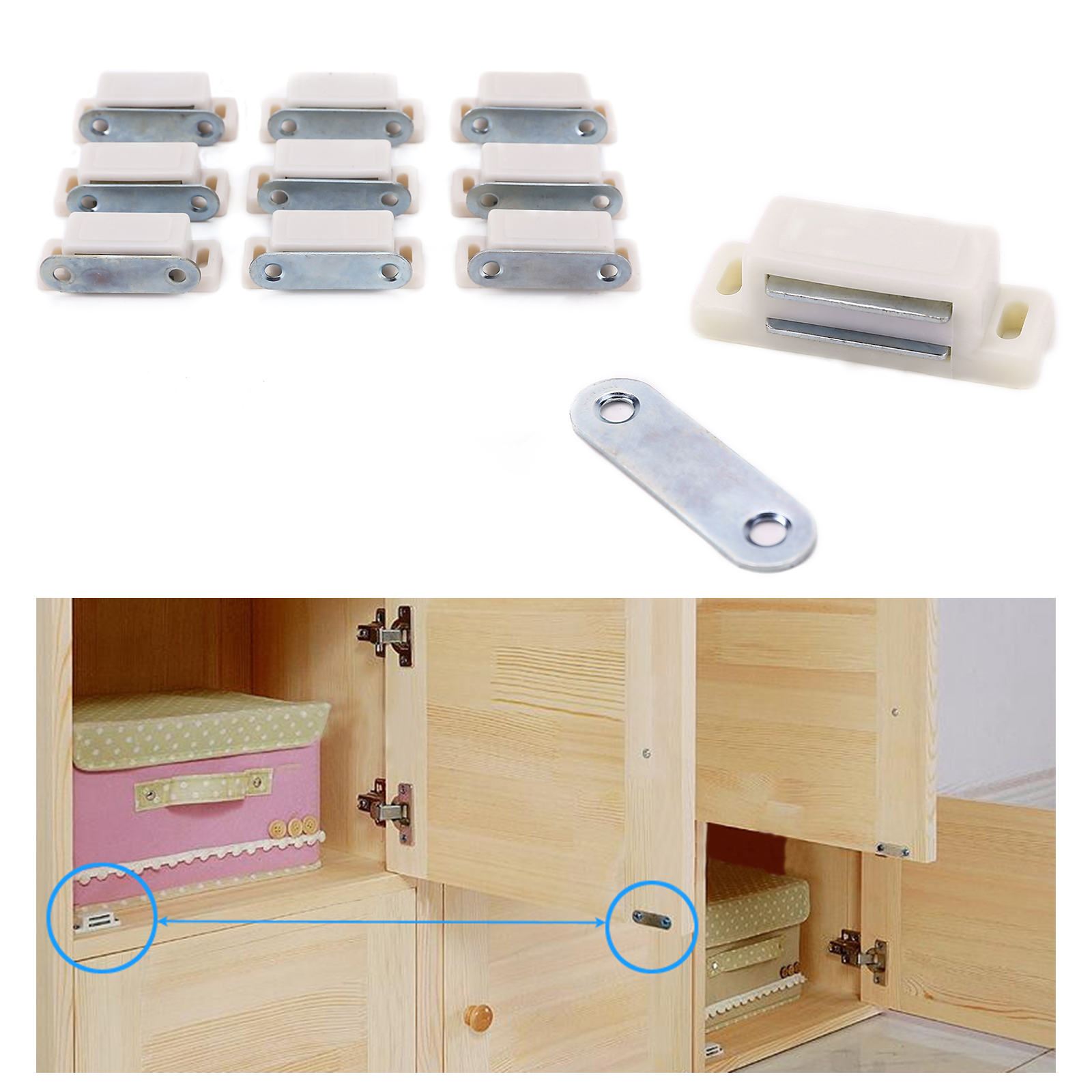 set of 10 magnetic door catches for kitchen cabinet