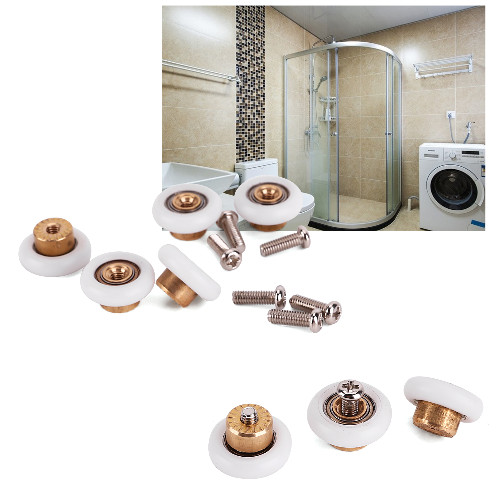 8x roulette 19mm remplacement pour roue de porte cabine douche salle de bain ebay. Black Bedroom Furniture Sets. Home Design Ideas