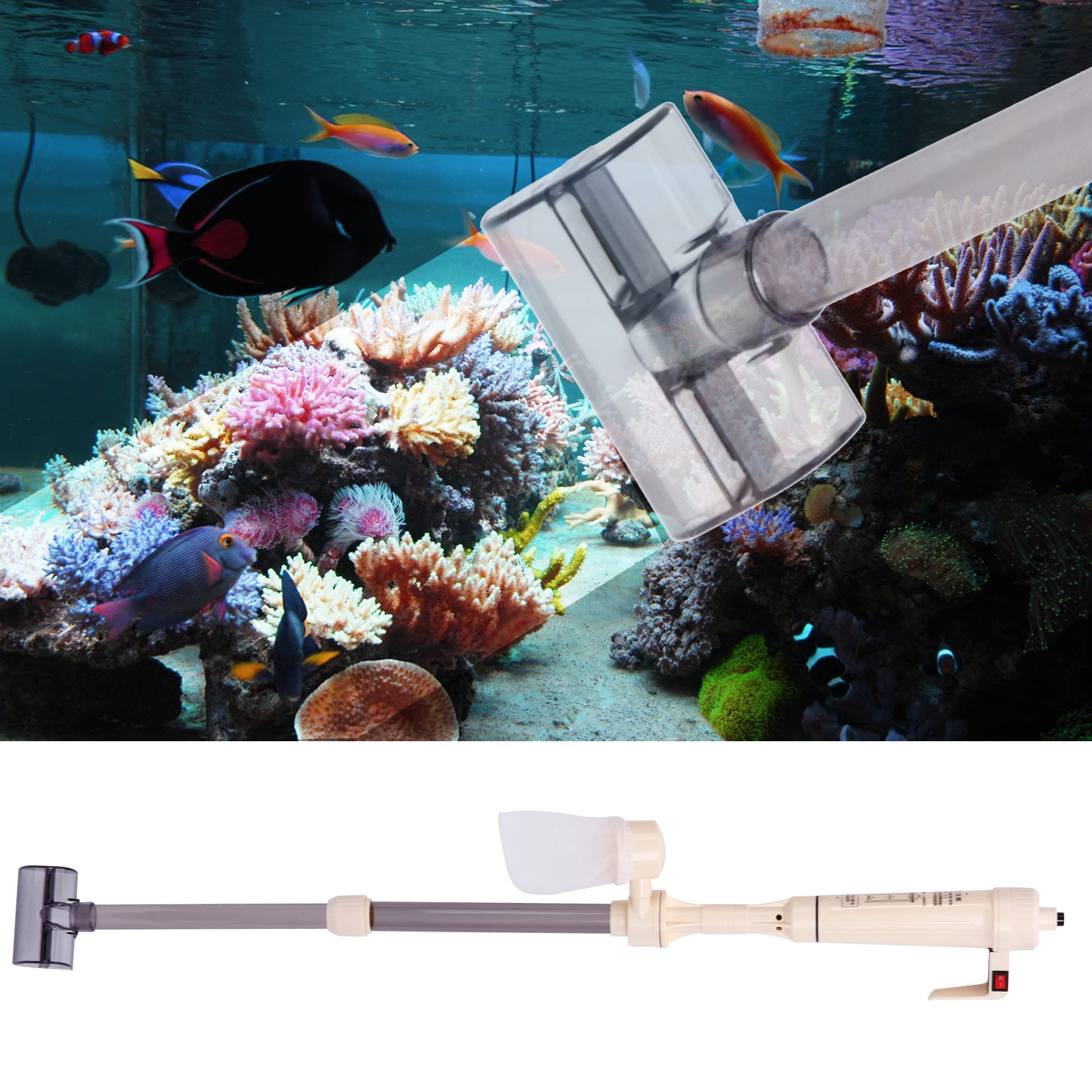 Aquarium fish tank battery vacuum syphon cleaner - Home Aquarium Gravel Battery Fish Tank Vacuum Syphon Cleaner Pump Water
