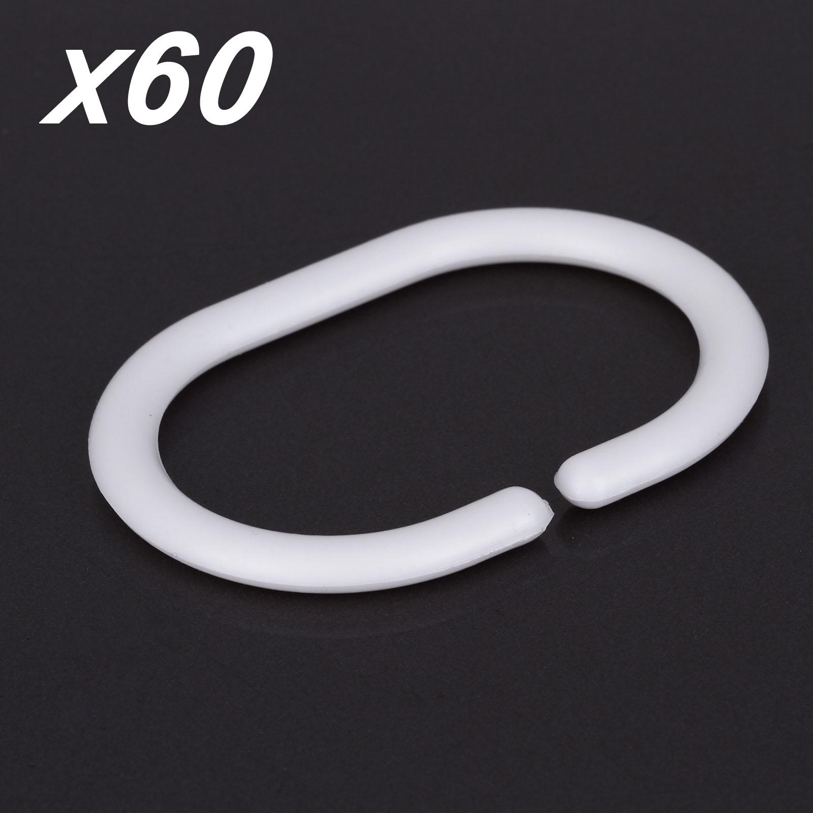 60 Pcs White Plastic Shower Curtain Hooks Rings For Bathroom Shower Rod Ebay