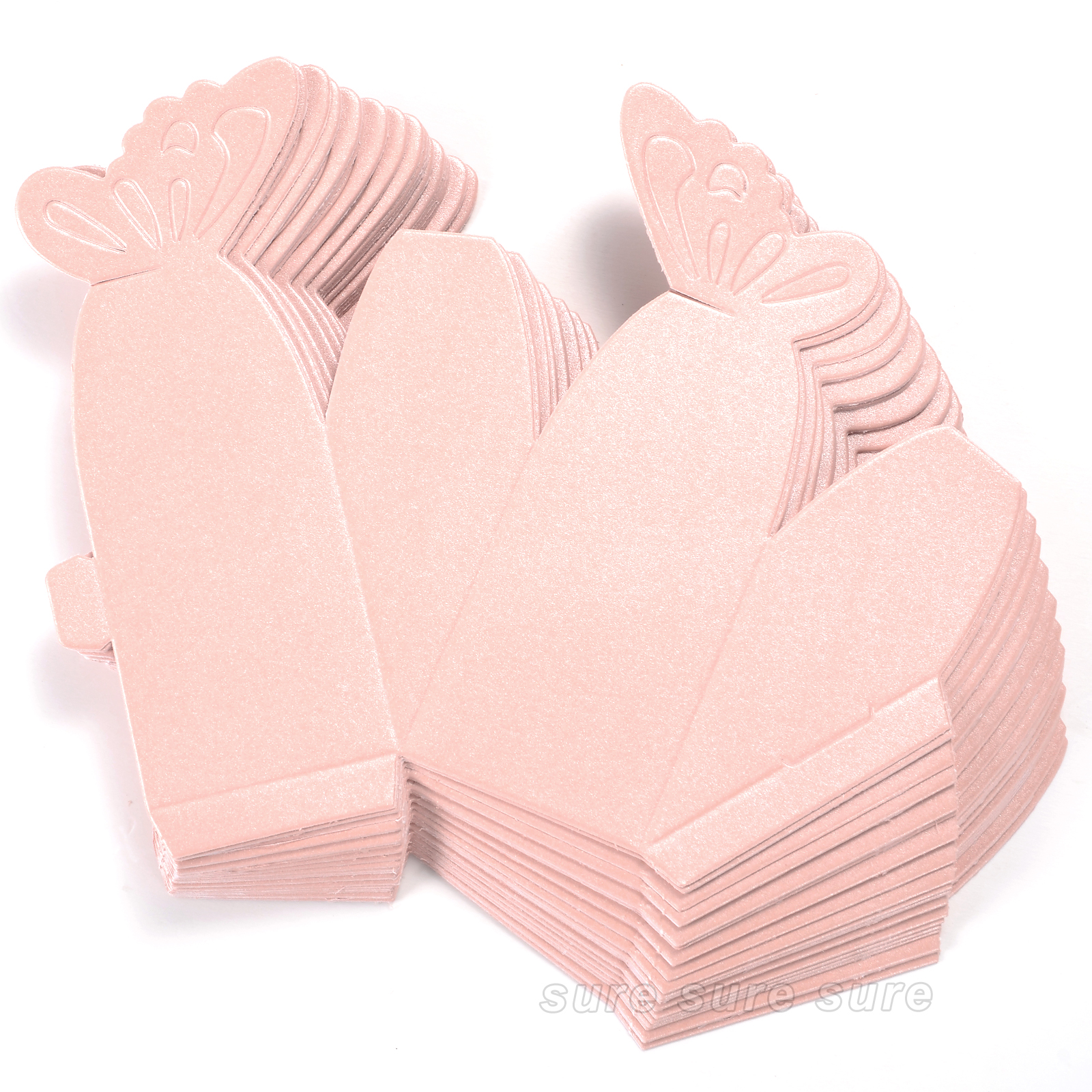 50 Boxes Favor Gift Candy Boxes Butterfly Cake Style