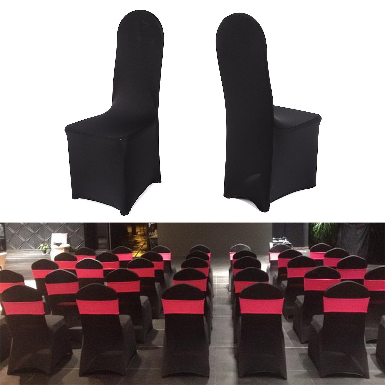 1 100 stuhlhussen universell stuhl berzug stuhlbezug stuhl berwurf schwarz ebay. Black Bedroom Furniture Sets. Home Design Ideas
