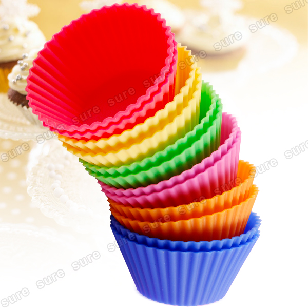 Silikon-Muffinfoermchen-12er-Set-6-Farben-Muffin-Kuchen-Cup-cake-Backform