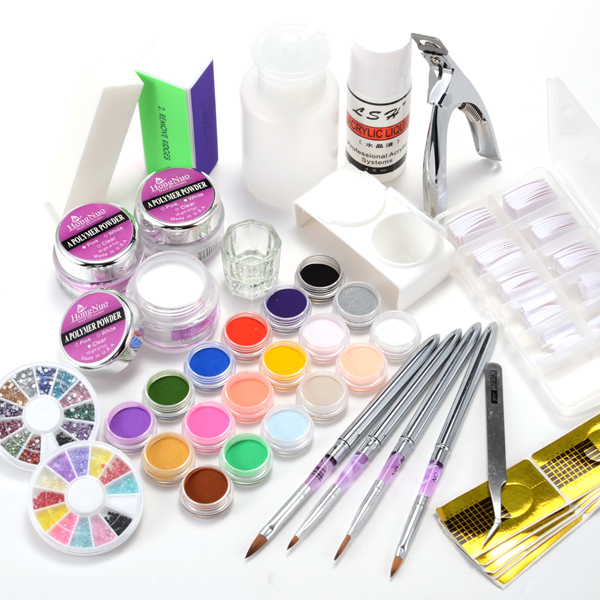 acryl set starterset puder liquid nagel tips glitter stra pinsel feile ebay. Black Bedroom Furniture Sets. Home Design Ideas