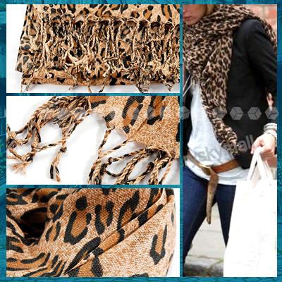 Animal Leopard Print Ladies Women Brown Fashion Scarf