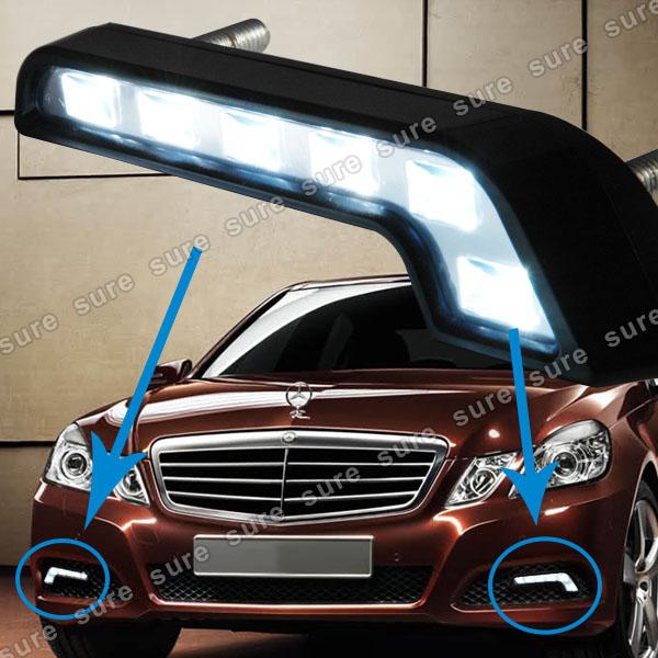 Coppia luci diurne drl 6 led 2 fari bianchi daylight per for Fari a led per auto