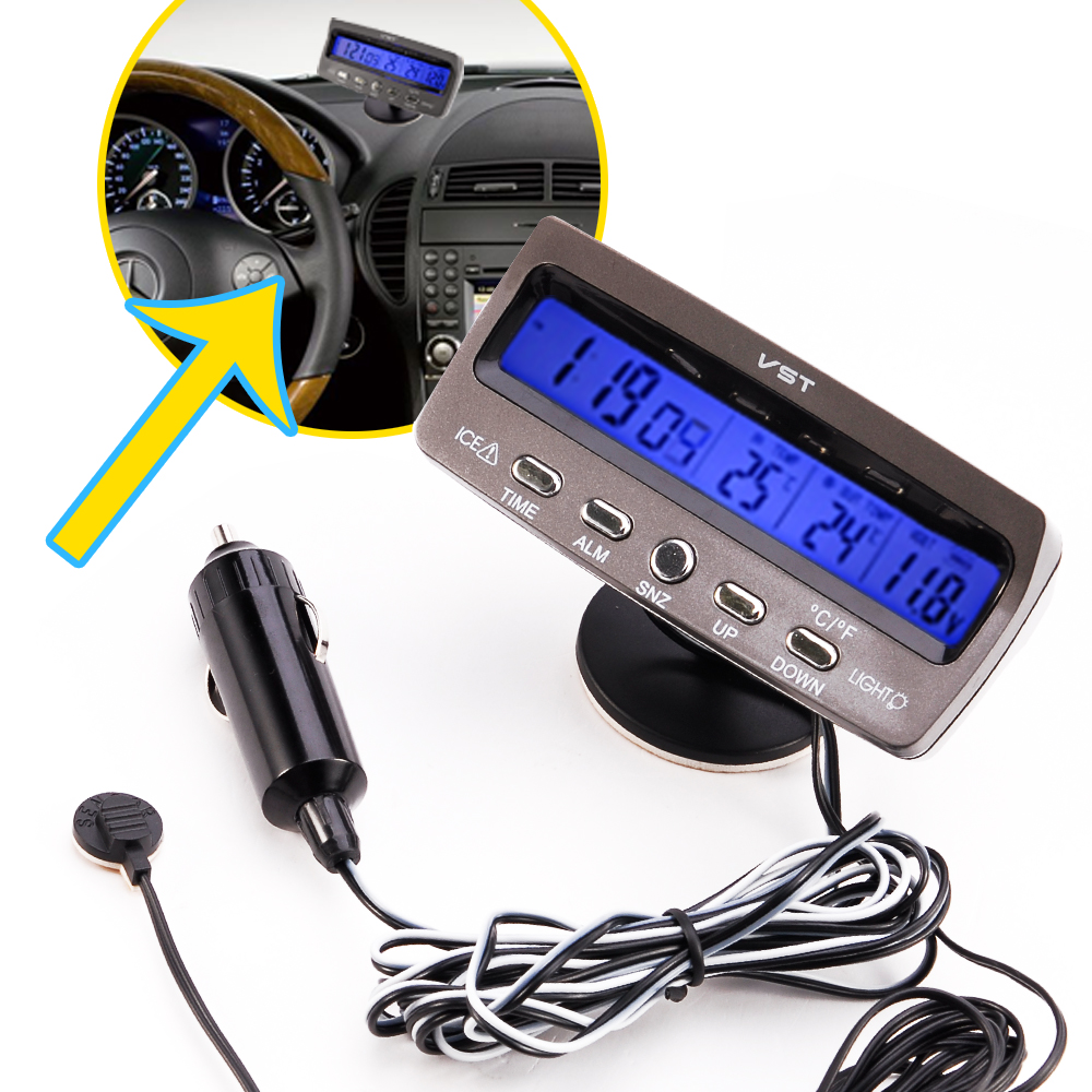 Car Battery Monitor : Multi function v car voltage monitor battery meter clock