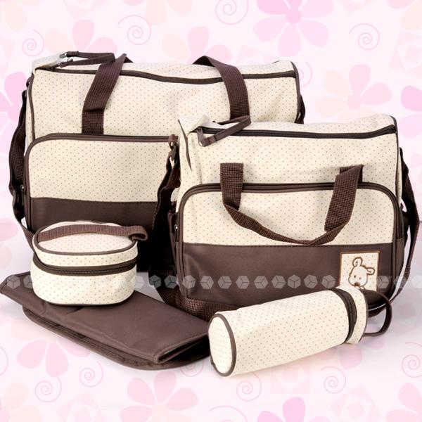 5-tlg-Baby-Wickeltasche-Pflegetasche-Kindertasche-Babytasche-BRAUN