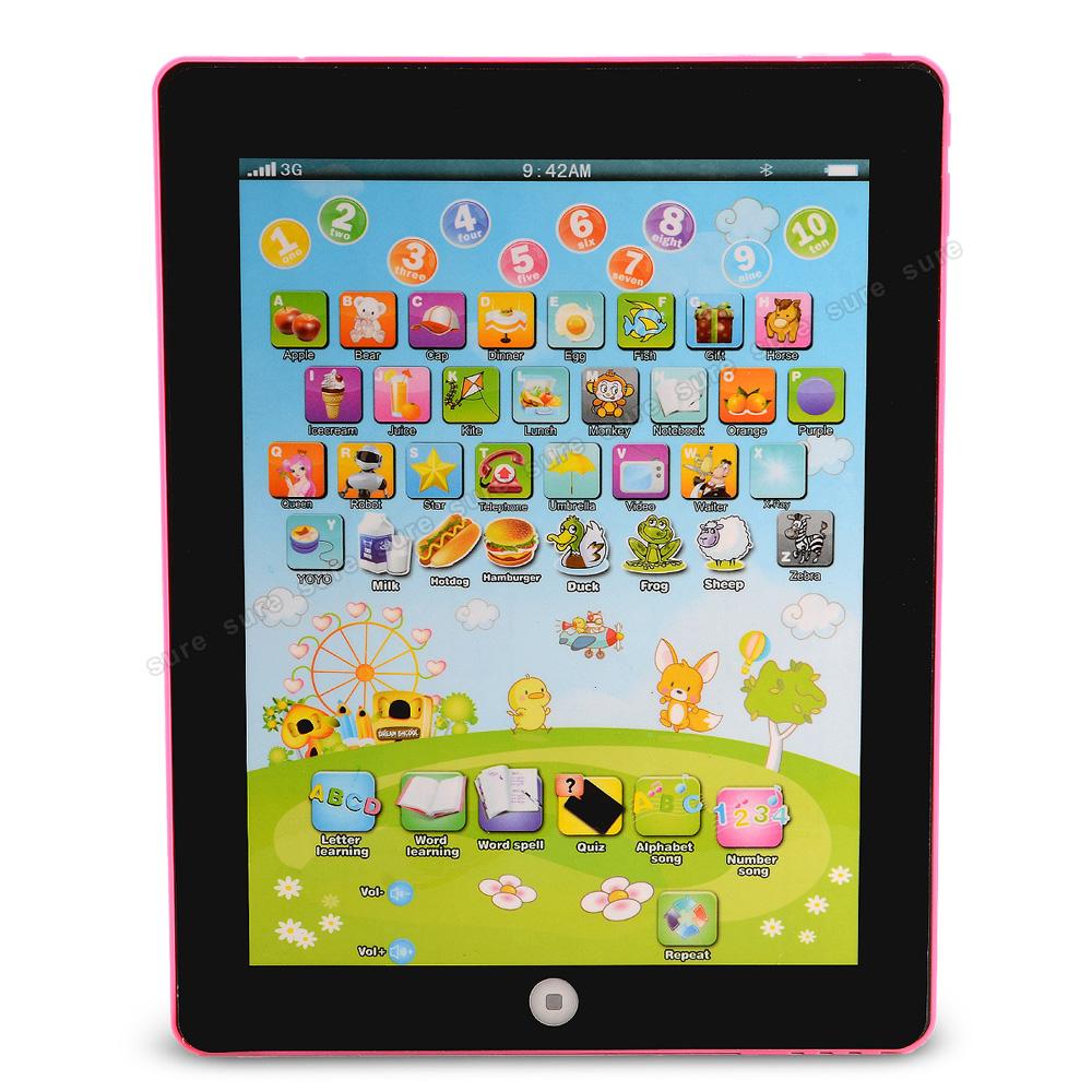 Pink kinder tablet computer lerncomputer spielzeug für