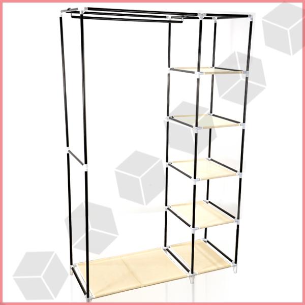 Armoire penderie pliable non tisse placard meuble de rangement 175x110x45cm - Structure armoire penderie ...