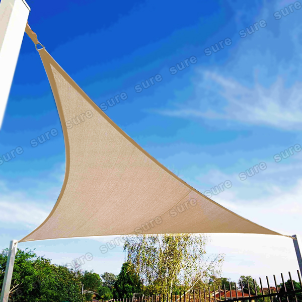 voile d 39 ombrage triangle beige vert 3 5m pare soleil jardin parasol ebay. Black Bedroom Furniture Sets. Home Design Ideas