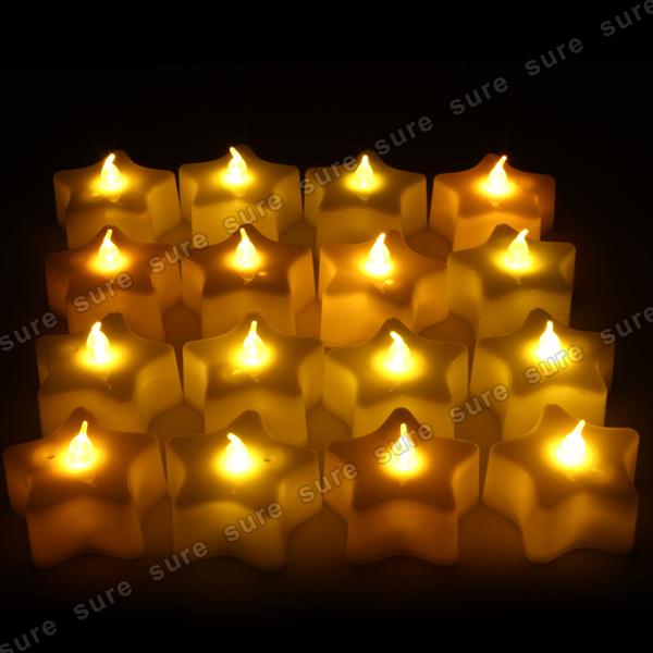 16er led stern teelicht teelichter lampe licht kerze valentinstag party deko. Black Bedroom Furniture Sets. Home Design Ideas