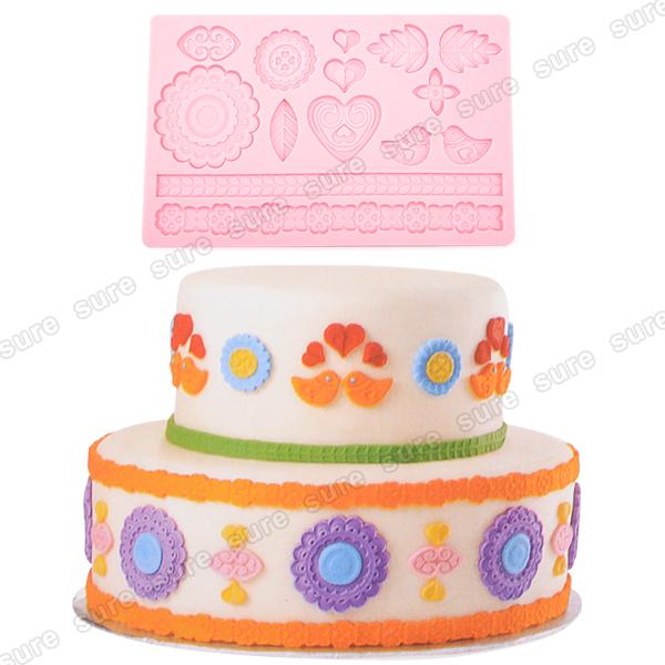 Fondant Cake Decorations Uk : Lace Bird Shaped Silicone Mold Fondant Cake Decoration ...
