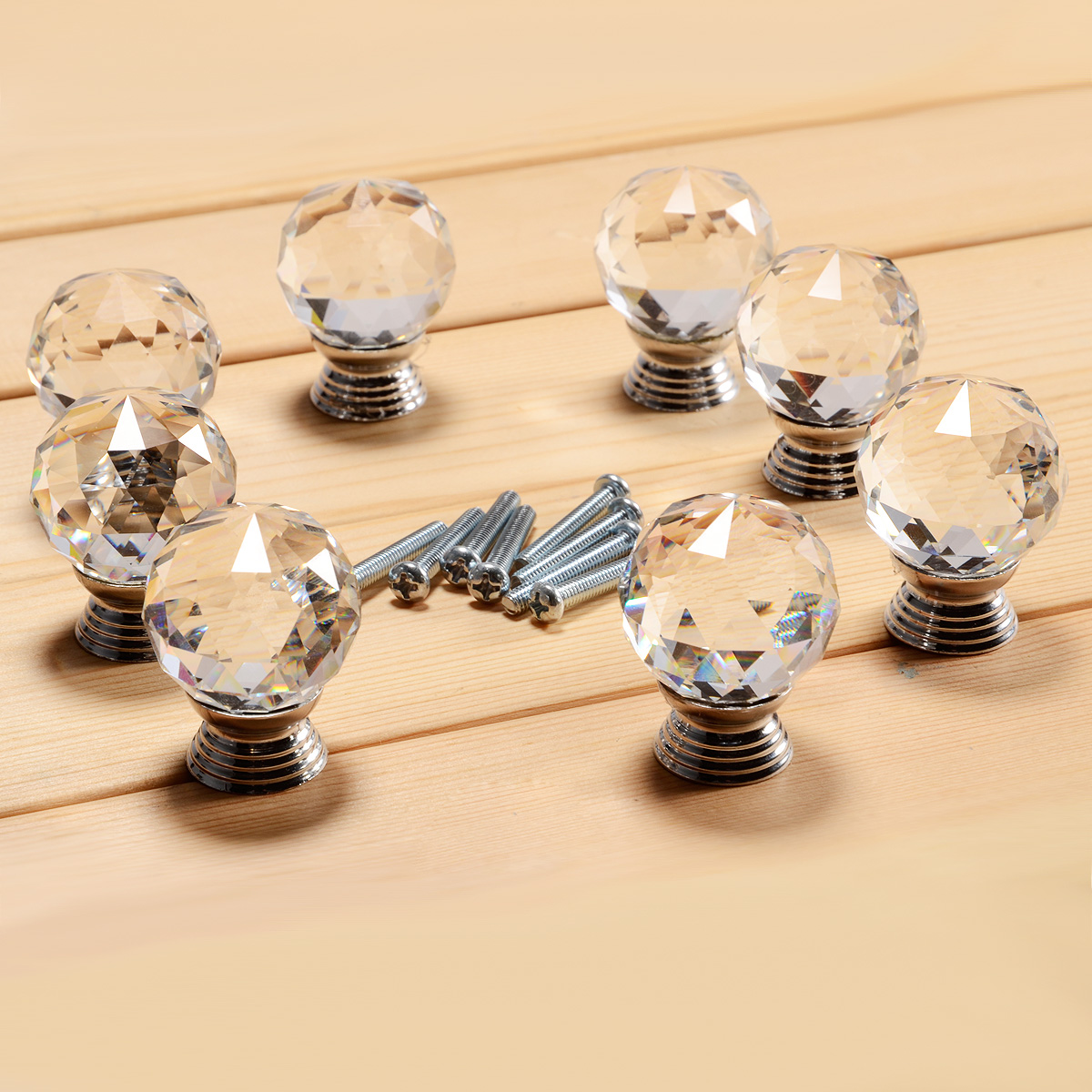 Antique style glass crystal door knobs chrome drawer for Antique knobs for kitchen cabinets