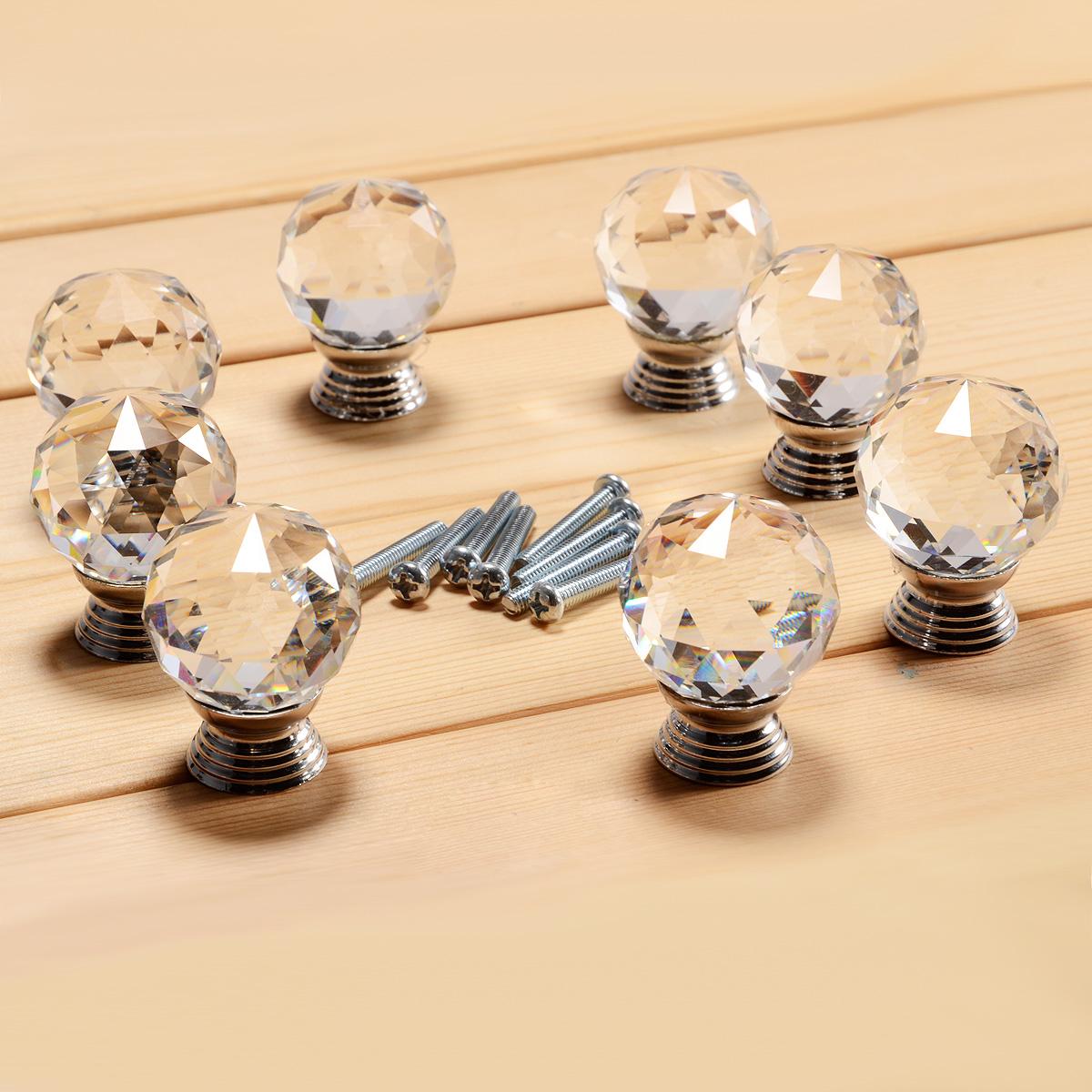 8 pomos tiradores para cajones puertas armarios del cristal plateado ebay - Tiradores para cajones ...