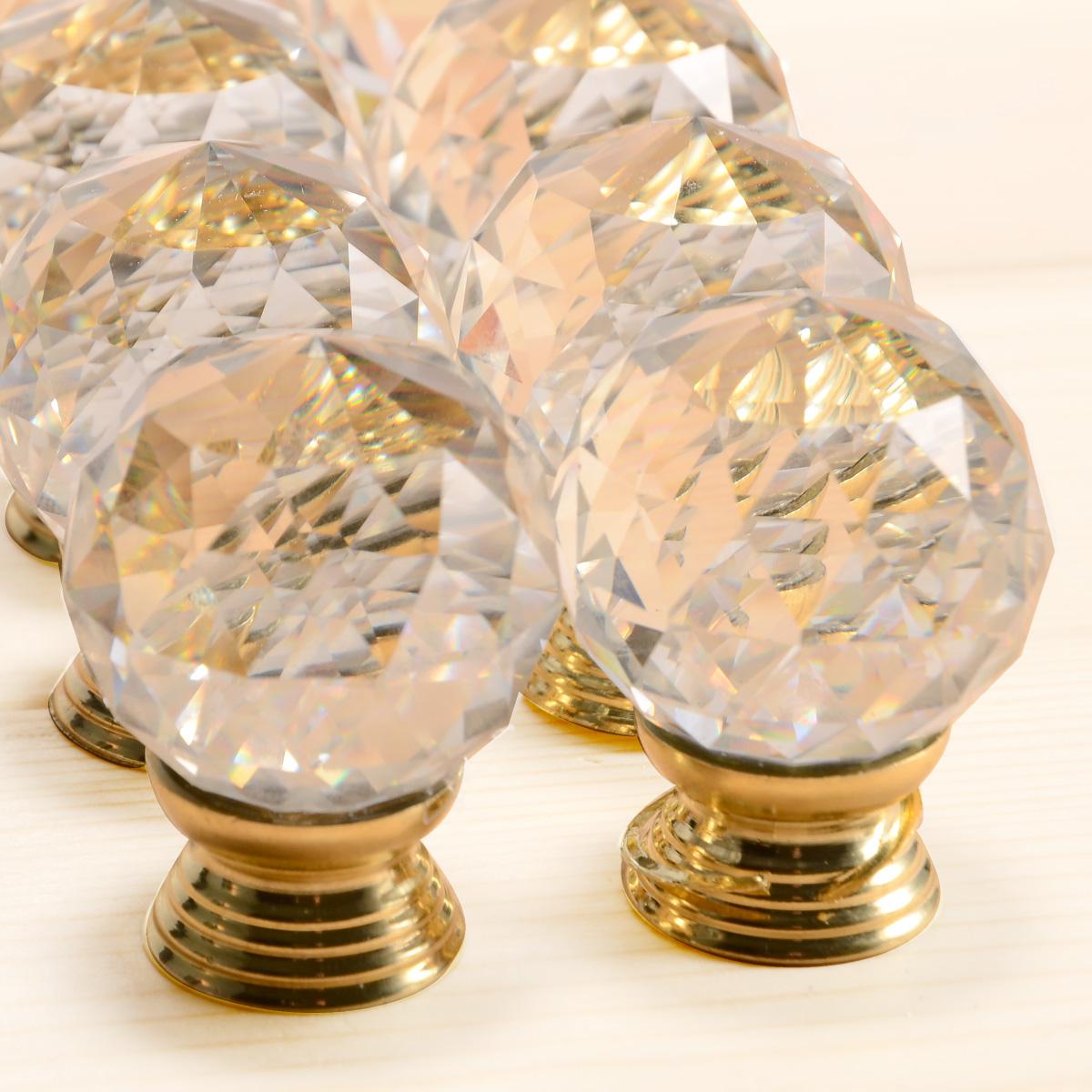 8pcs poign e bouton verre cristal zinc dor argent pr Bouton cristal meuble cuisine