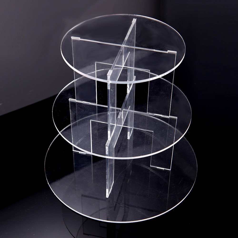 3 tier acrylic crystal clear circle wedding cake plate. Black Bedroom Furniture Sets. Home Design Ideas
