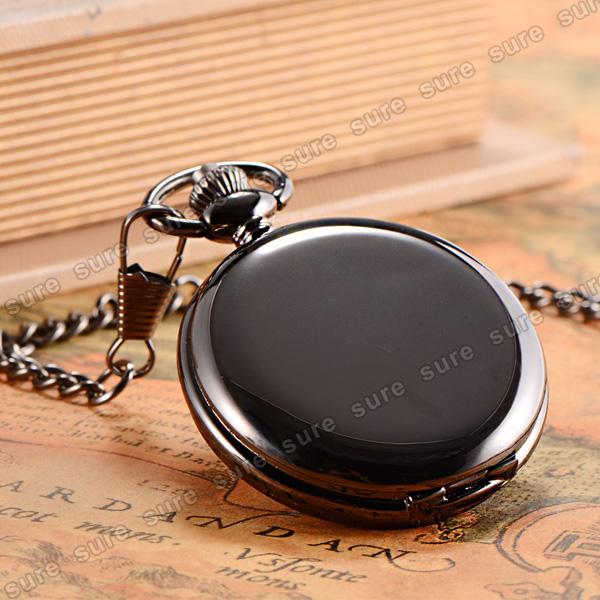 Montre a gousset quartz miroir acier noir chaine a clip for Miroir noir watch online