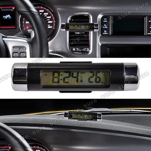 auto digital lcd thermometer uhr universal auto ventil luftd se ebay. Black Bedroom Furniture Sets. Home Design Ideas