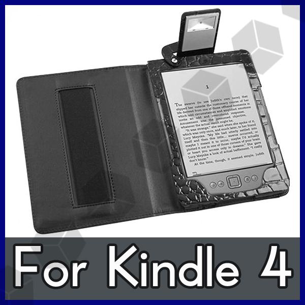 Funda a medida cuero lampara para amazon kindle 4 ebook wifi negro cocodrilo - Fundas kindle amazon ...