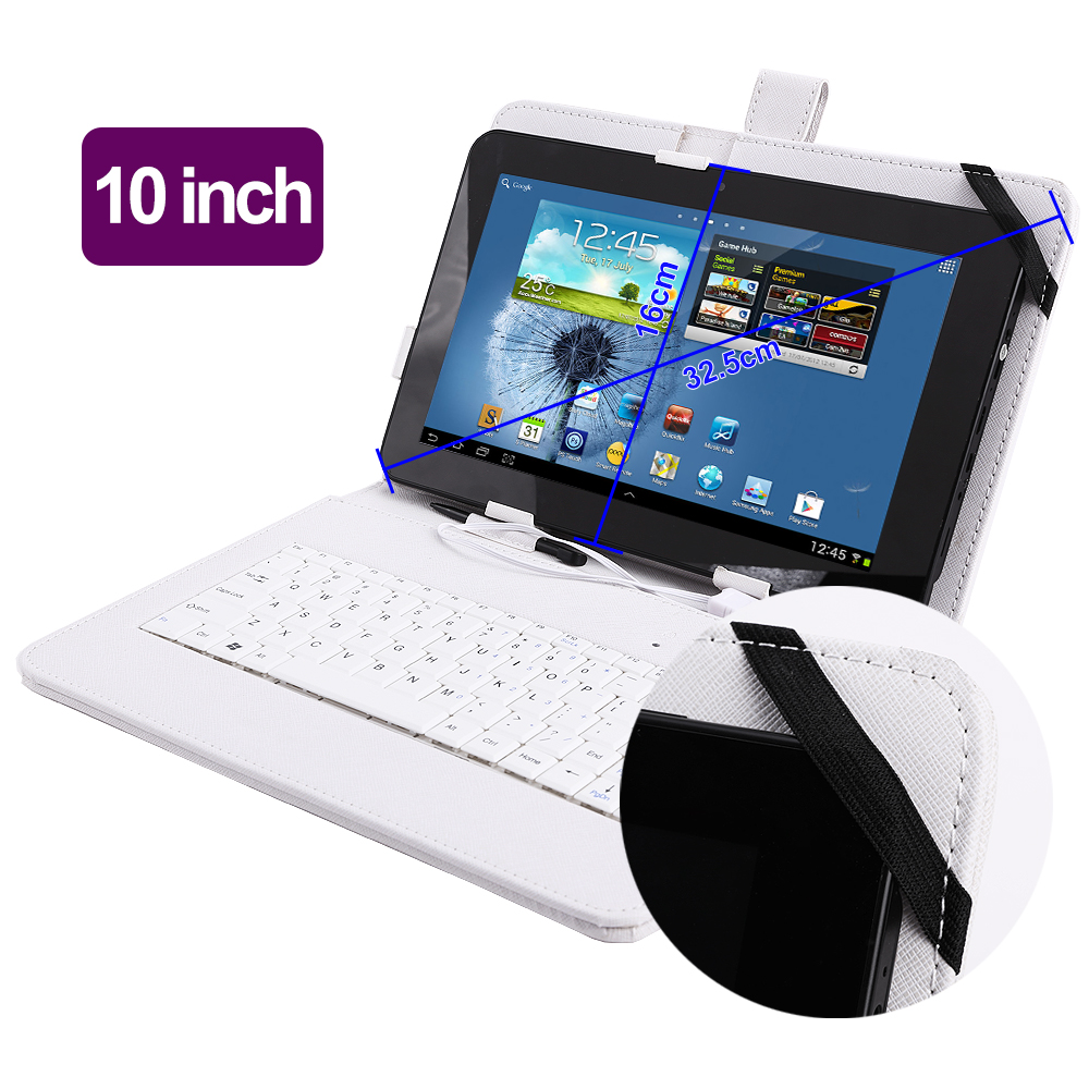 universal tasche h lle case mit usb tastatur f 10 zoll tablet pc epad weiss ebay. Black Bedroom Furniture Sets. Home Design Ideas