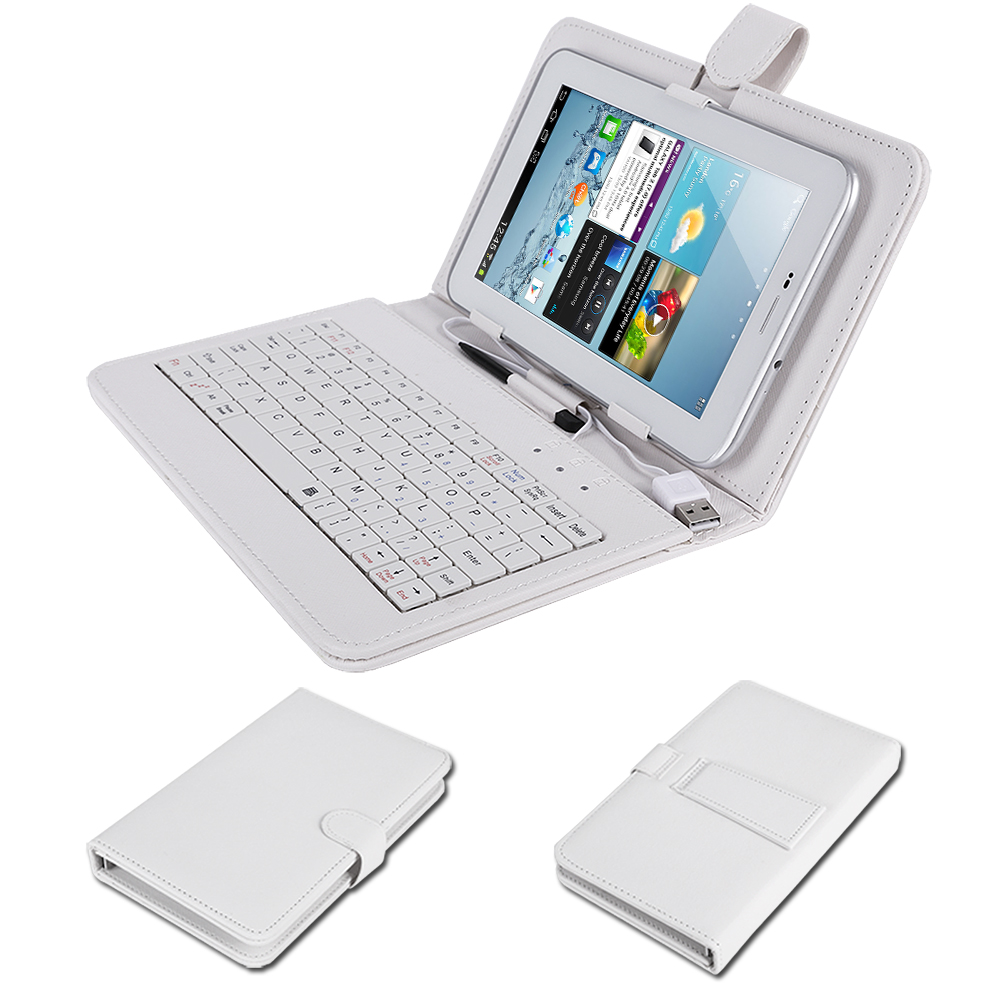 tasche case mit usb tastatur f r 7 zoll tablet pc weiss ebay. Black Bedroom Furniture Sets. Home Design Ideas