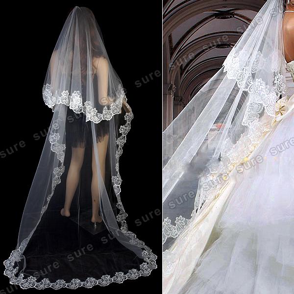 Elegant 3m brautschleier schleier mit stickerei weiss for Brautschleier ivory einlagig