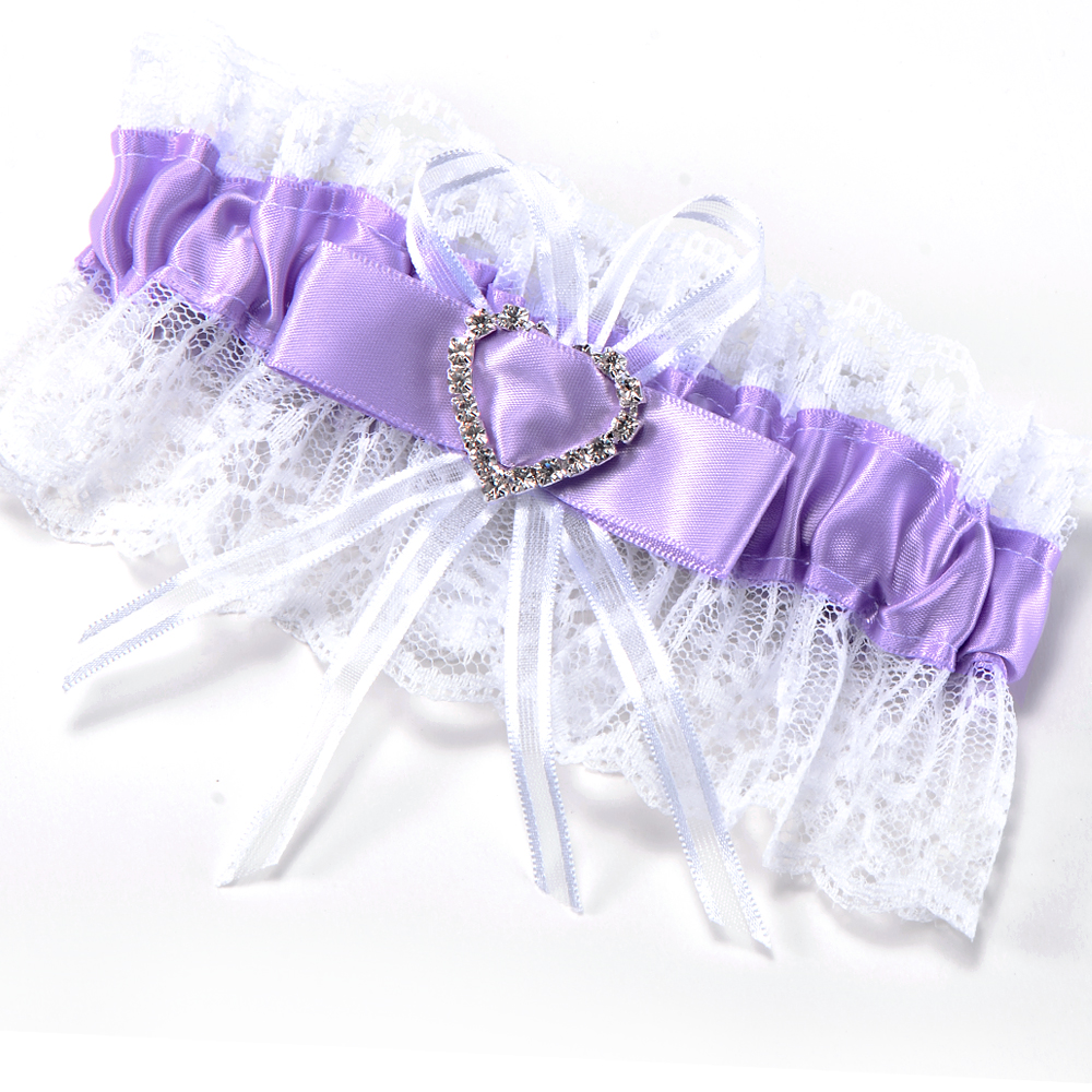 Lace Satin Garter With Heart Diamante For Wedding Bridal