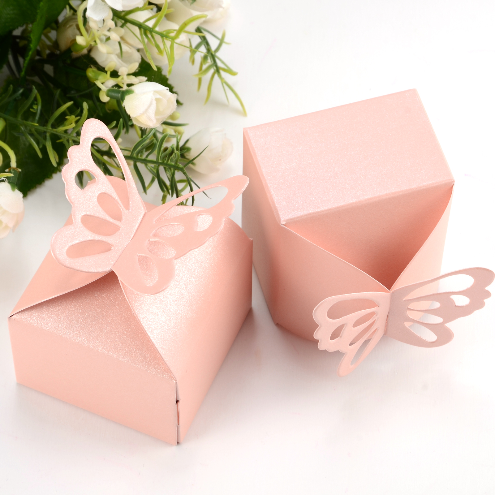 50pcs Butterfly Top Gift Candy Bomboniere Boxes Wedding