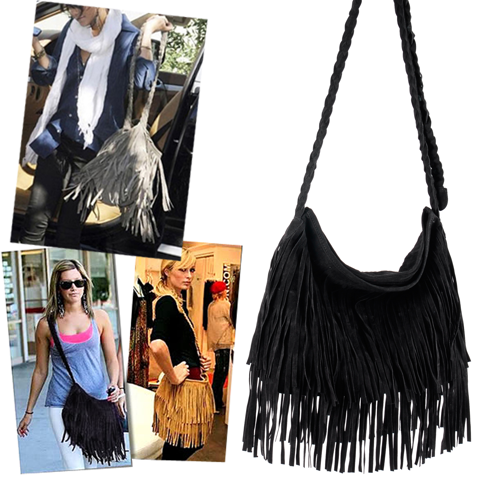 New Black Celebrity Fringe Tassel Shoulder Messenger Bag Handbag