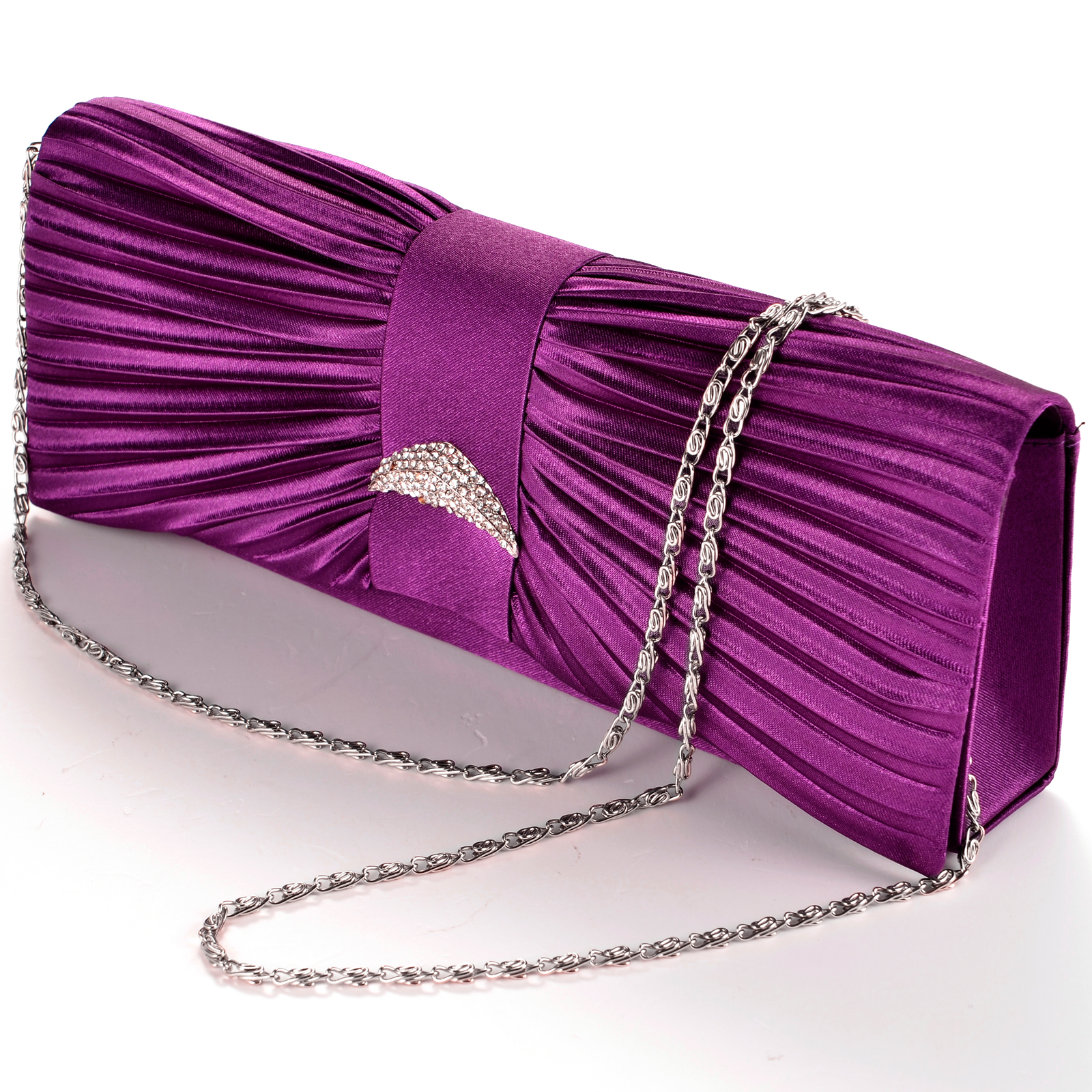 Satin Diamante Pleated Evening Handbag Wedding Bridal Party Clutch Purse Purple | EBay