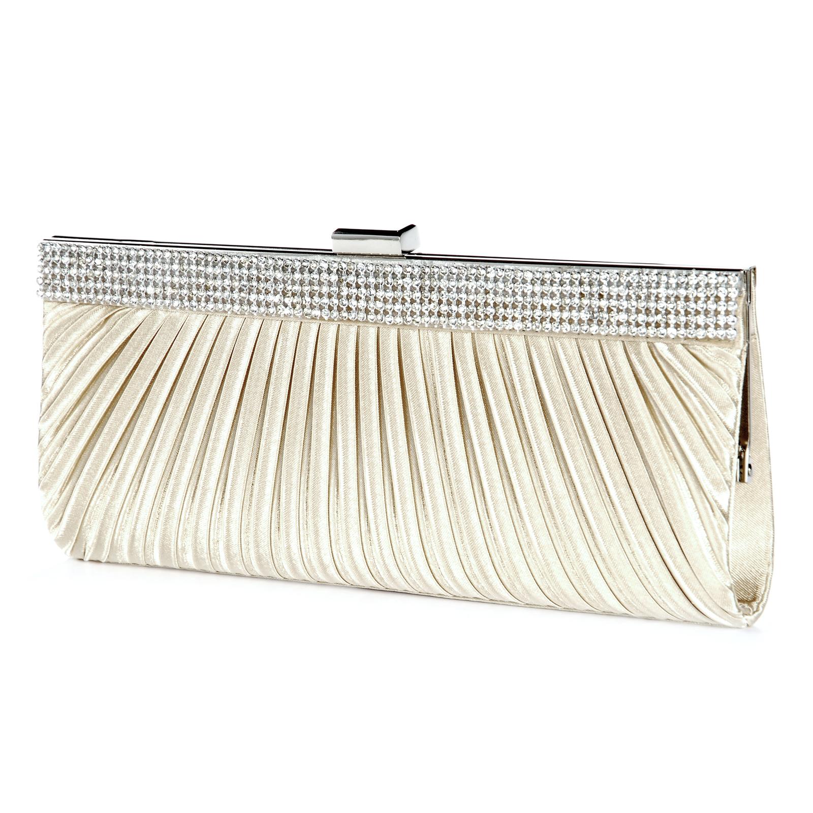 Satin Crystal Bridal Wedding Clutch Bag Chain Strap Evening Handbag Purse   EBay