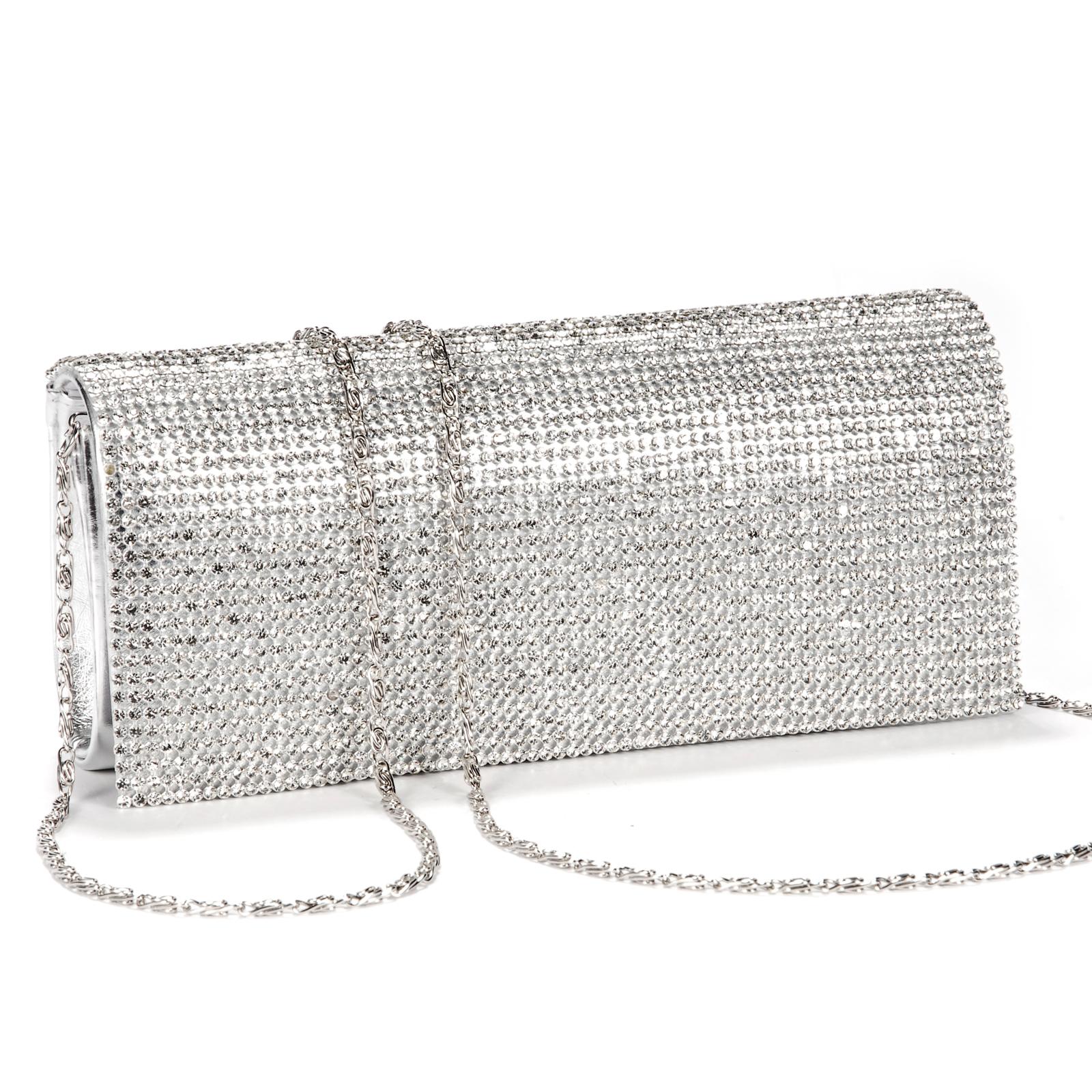 Shimmering Diamante Crystal Evening Clutch Purse Wedding Prom Women Bag Silver   EBay