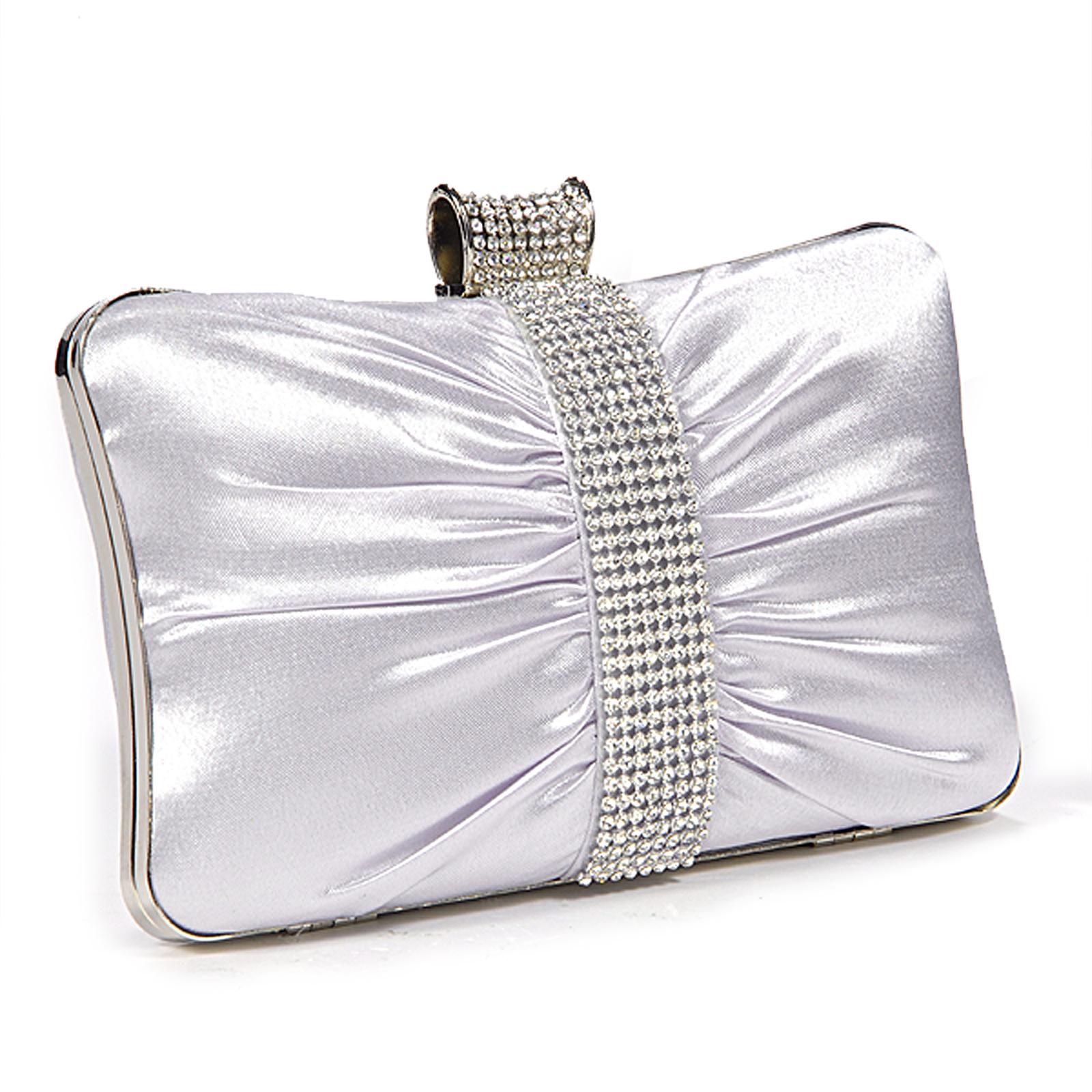 Womens Diamante Crystal Wedding Bridal Evening Clutch Bag Purse Silver Black | EBay