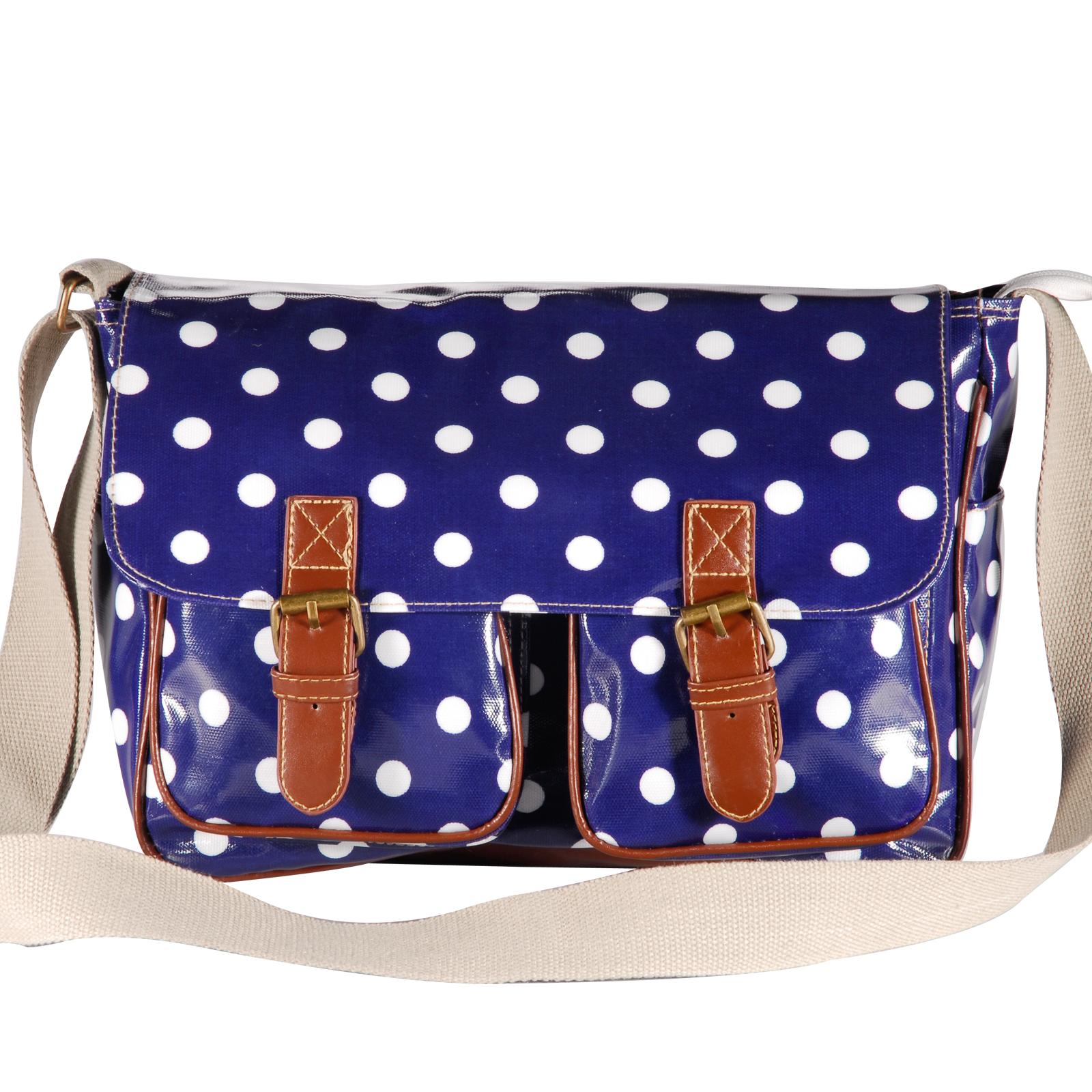 Oilcloth Polka Dots Crossbody Saddle Bag Satchel Shoulder Messenger 6
