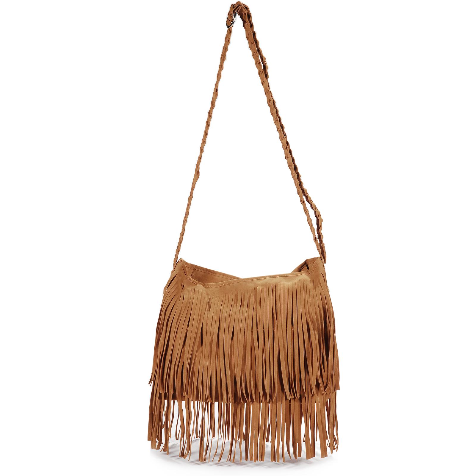Vintage Women's Faux Suede Fringe Tassels Crossbody Bag Shoulder ...