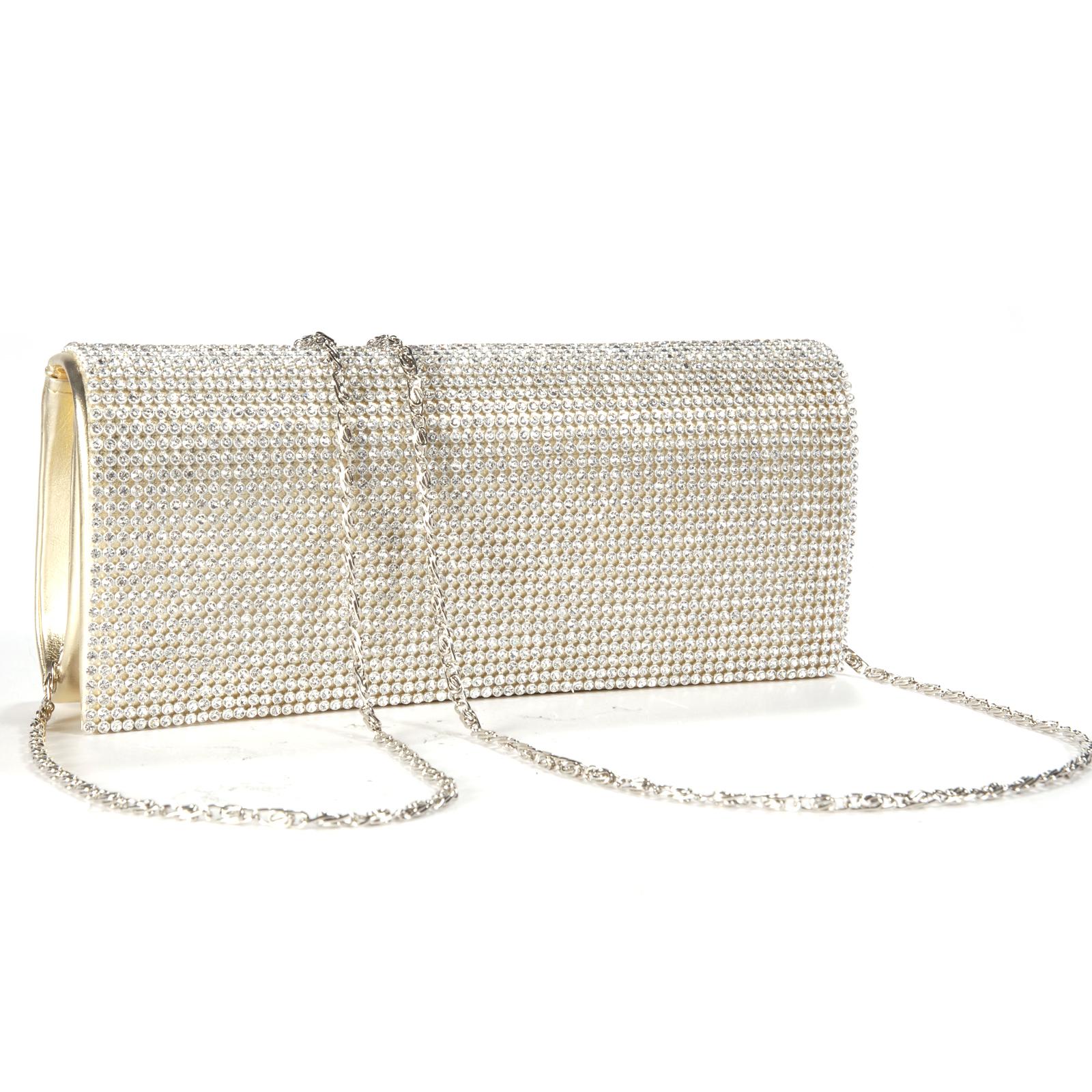 Shimmering Gold Diamante Evening Bag Clutch Purse Wedding ...