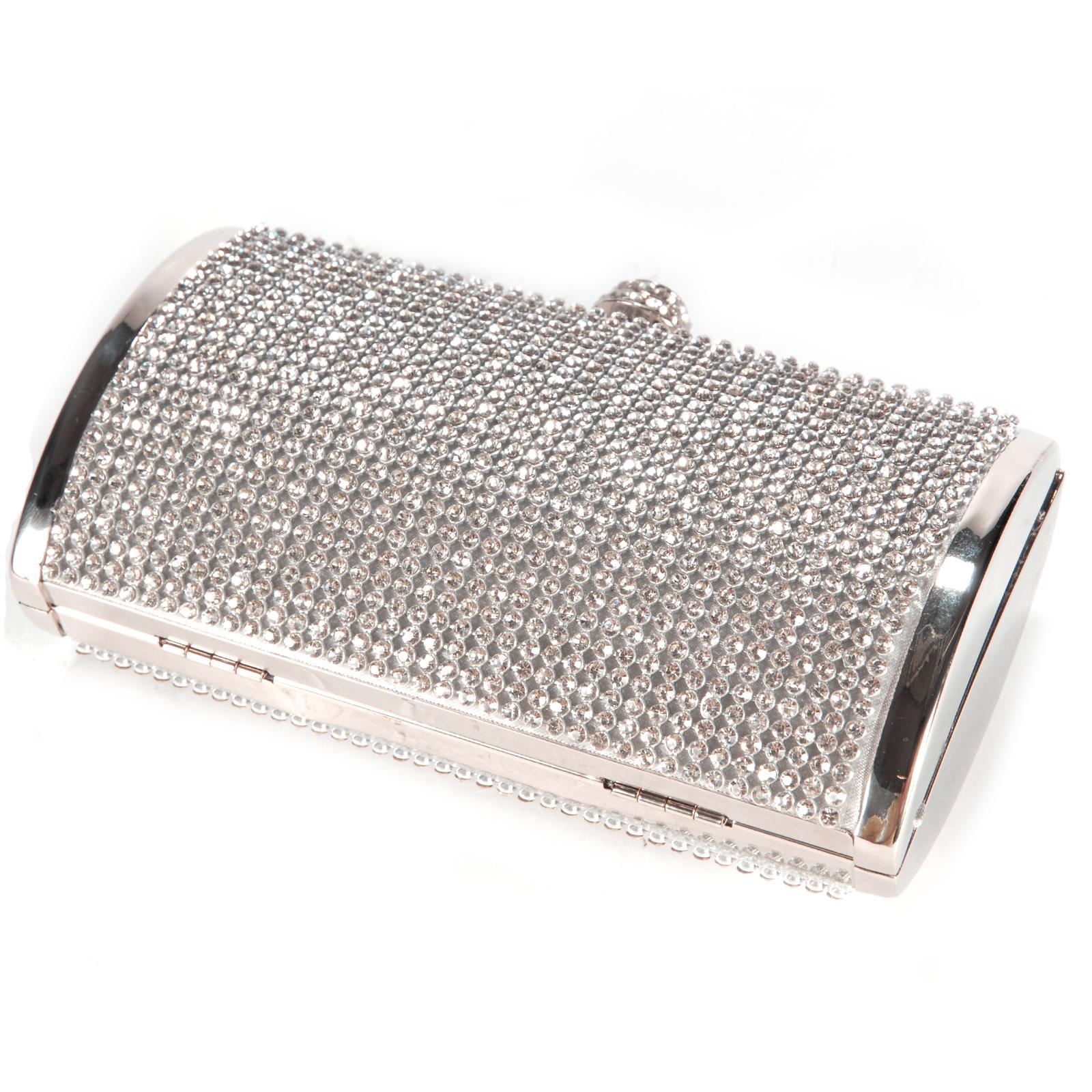 Dazzling All-Over Diamante Covered Box Clutch Silver ...