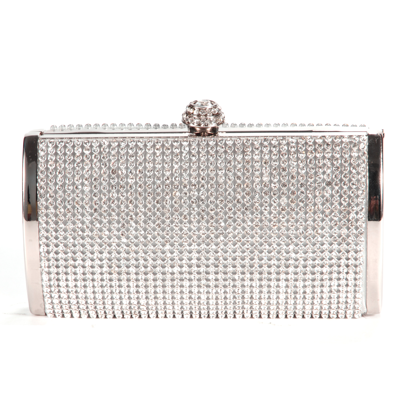 Silver Sparkly Diamante Crystal Evening Clutch Bag Wedding ...