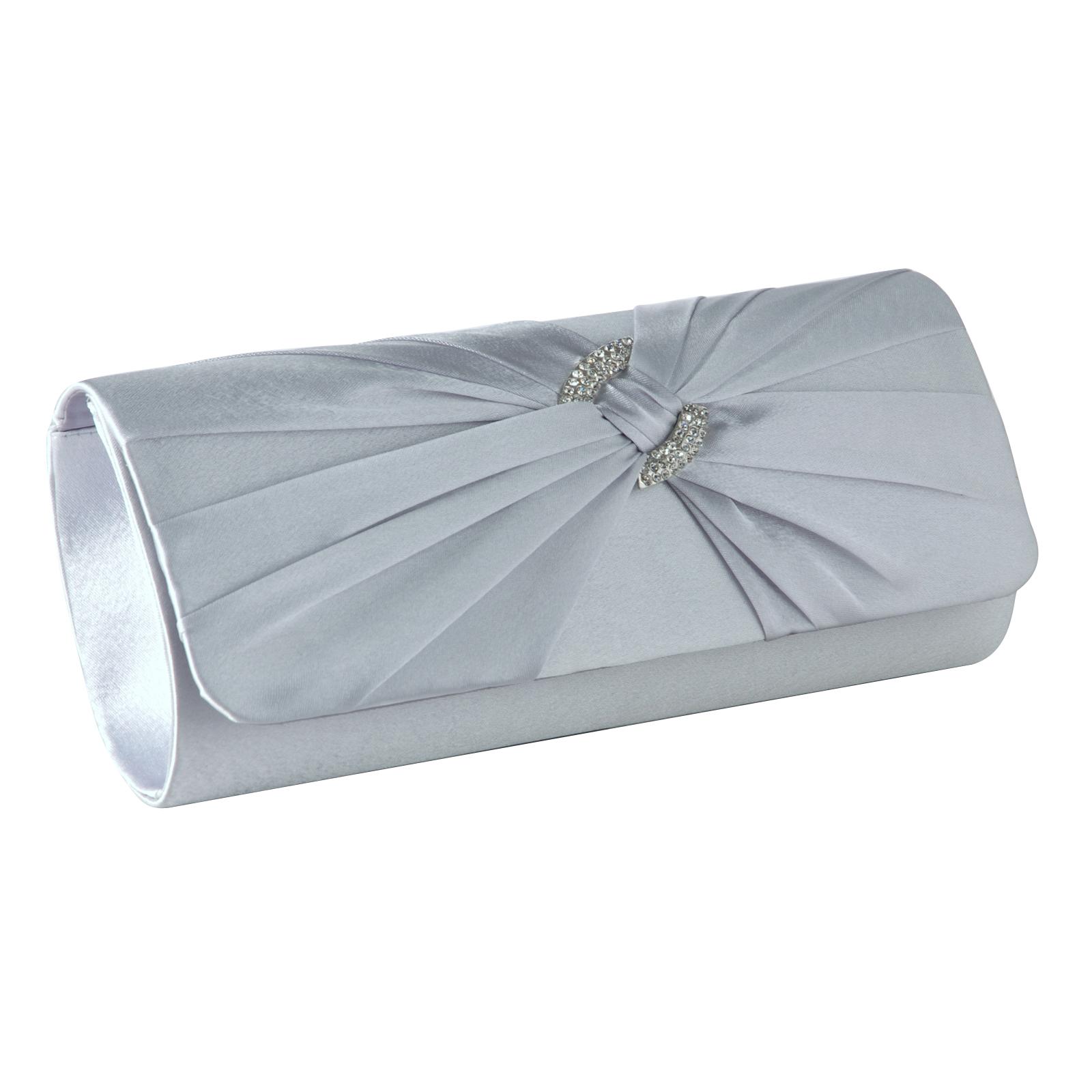 Satin Pleated Diamante Evening Clutch Bag Wedding Bridal Handbag Silver Purse | EBay