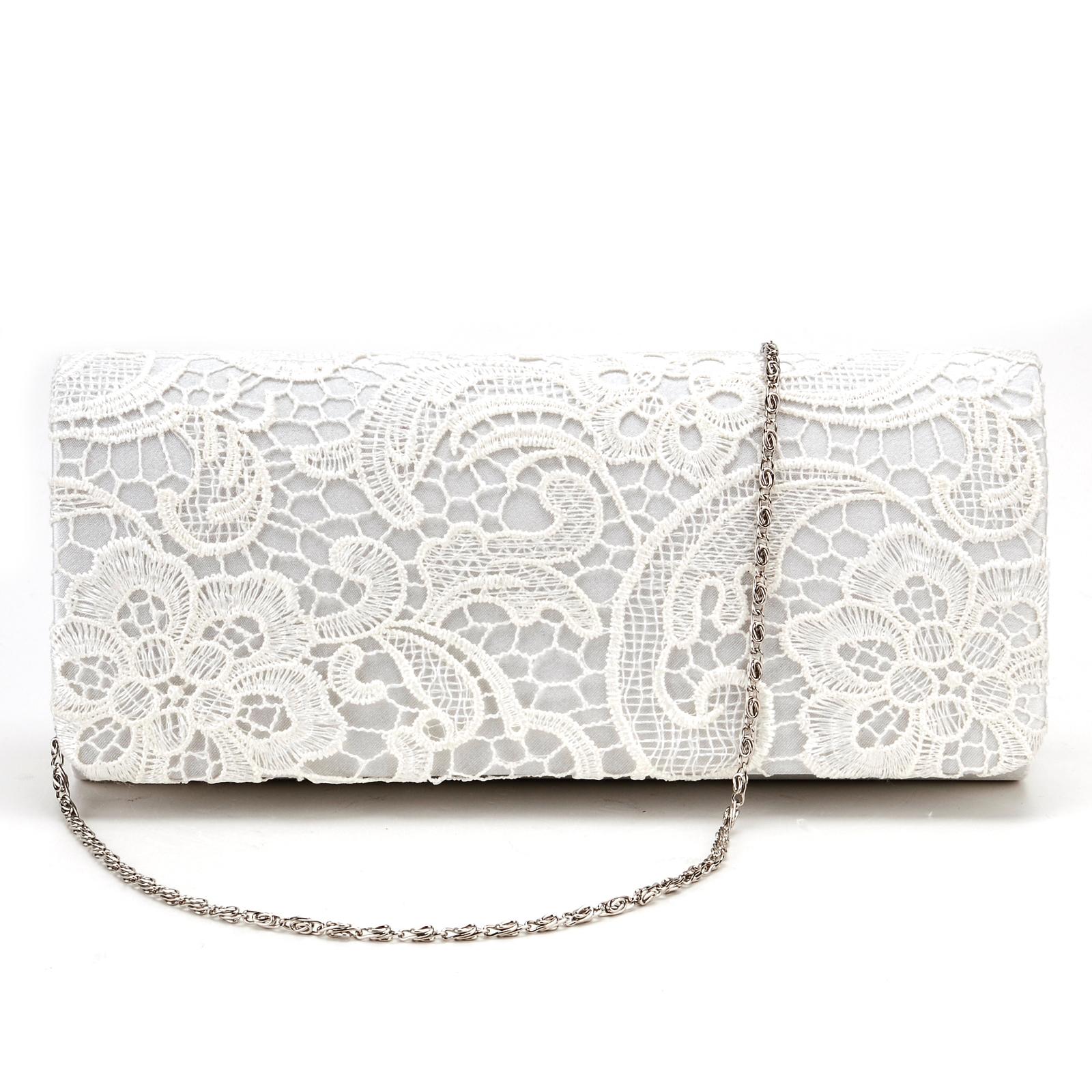 Satin Lace Floral Evening Clutch Bag Wedding Bridal Handbag Purse Ivory White | EBay