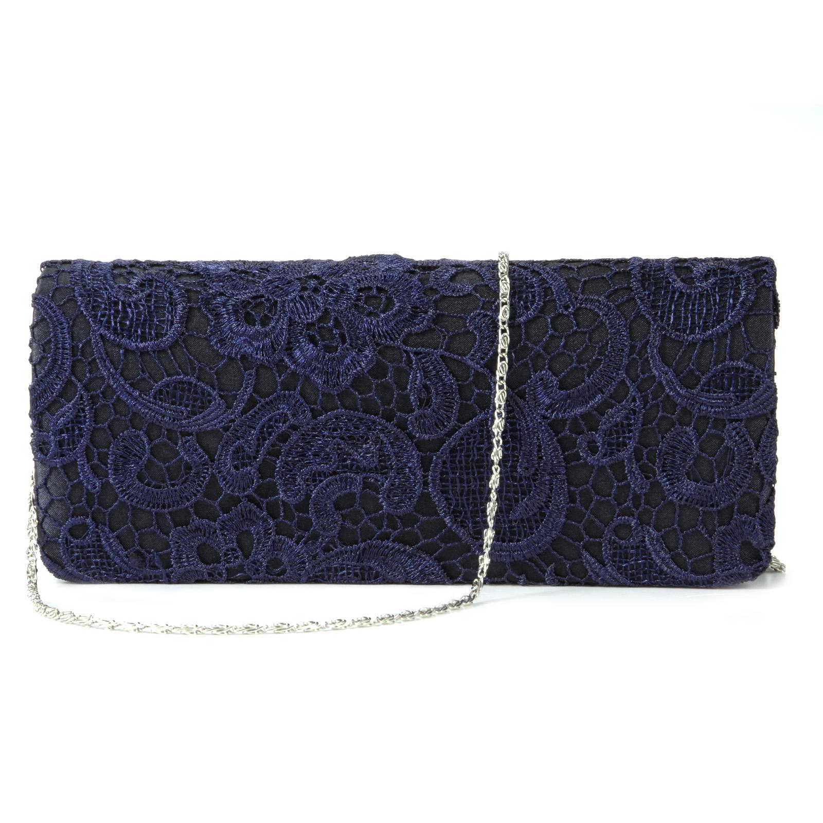 Navy Blue Floral Flower Satin Lace Evening Party Clutch Bag Bridal Purse Handbag | EBay