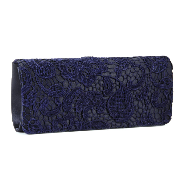 Navy Blue Floral Flower Satin Lace Evening Party Clutch Bag Bridal Purse Handbag | EBay