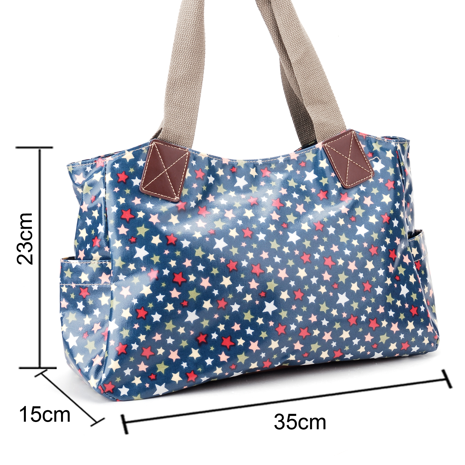 Colorful little stars oilcloth shoulder bag canvas strap for Au maison oilcloth uk