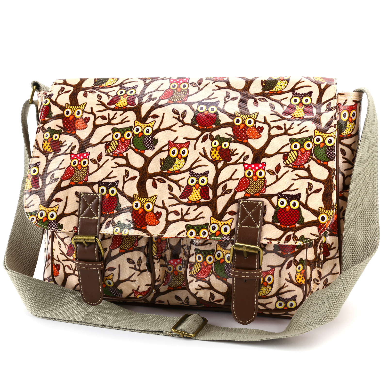 Bolsa Estilo Satchel : Oilcloth owl print cross body satchel shoulder saddle bag