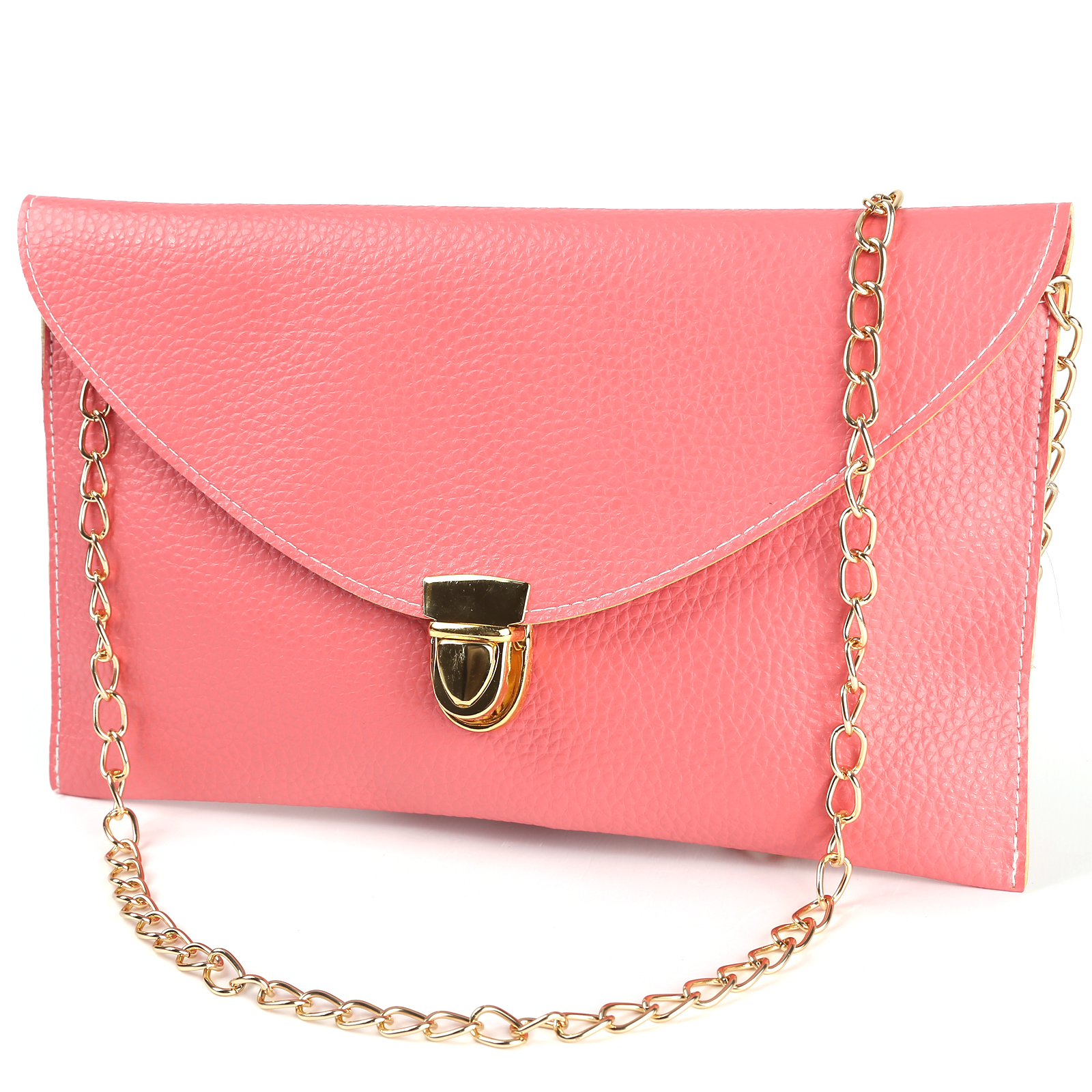 Sling bag on ebay -  Ladies Salmon Envelope Shoulder Bag Clutch Chain Purse