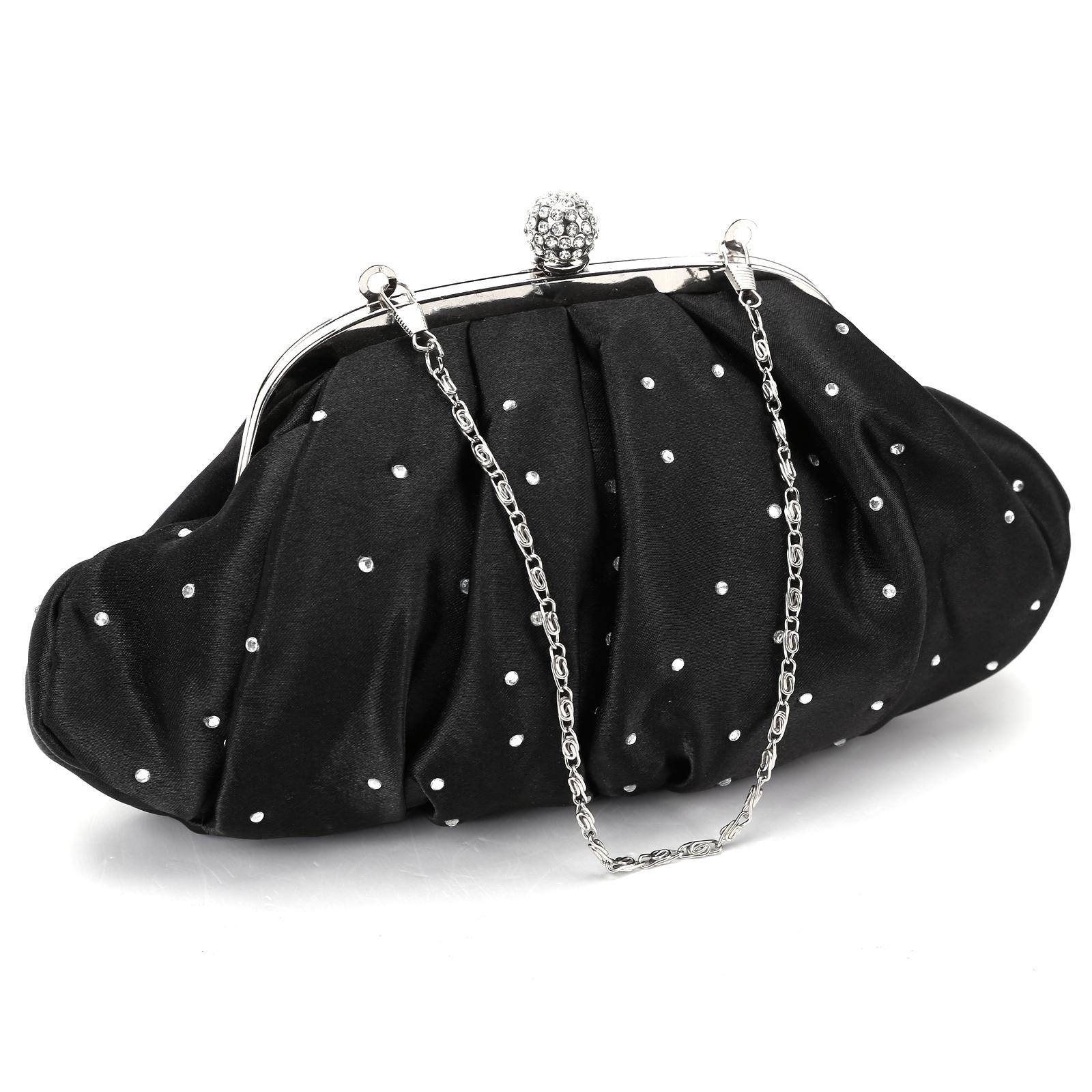 sparkling rhinestone Soft pouch clutch prom handbag crown top closes push lock