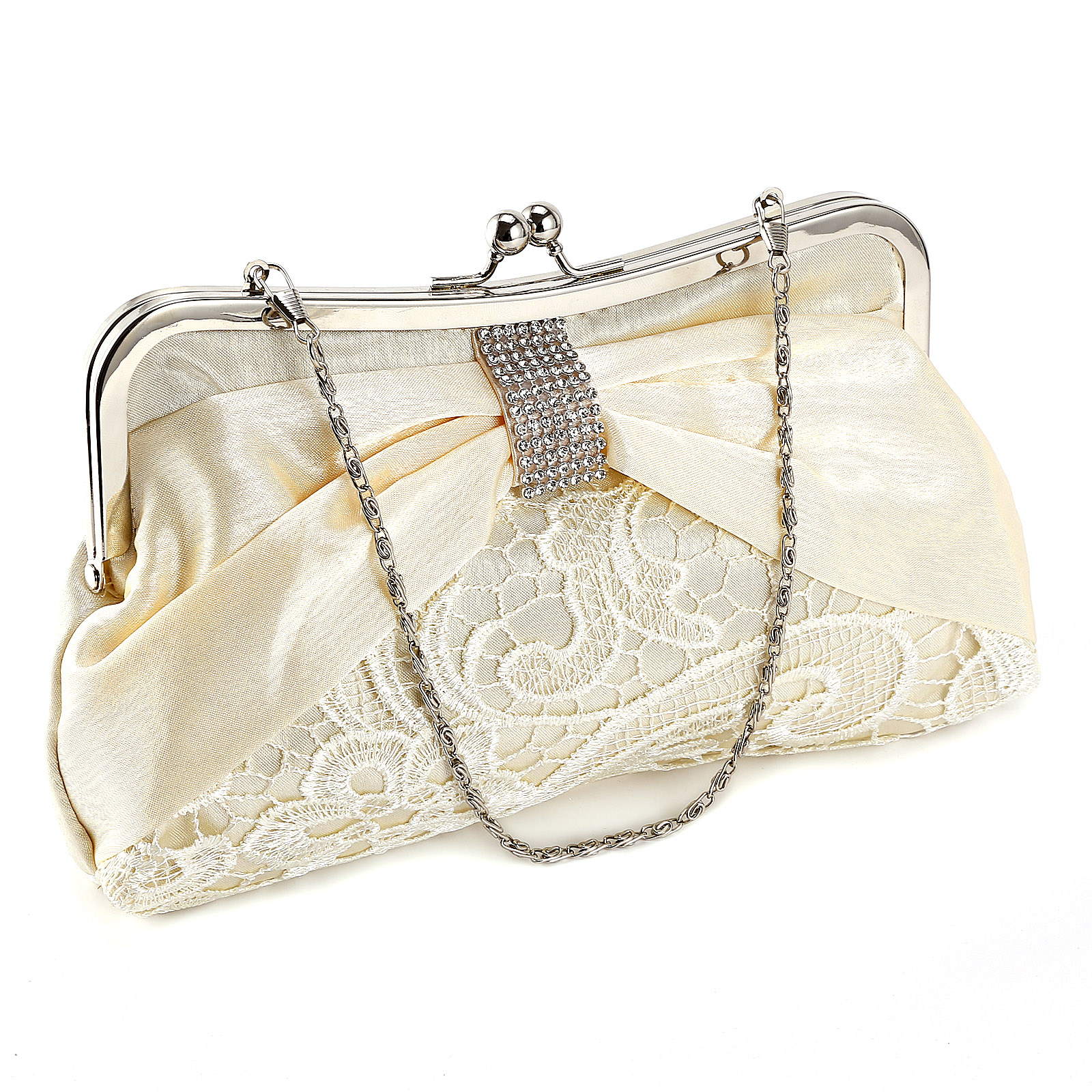 Ladies Diamante Satin Lace Wedding Bridal Clutch Bag Evening Handbag Phone Purse | EBay